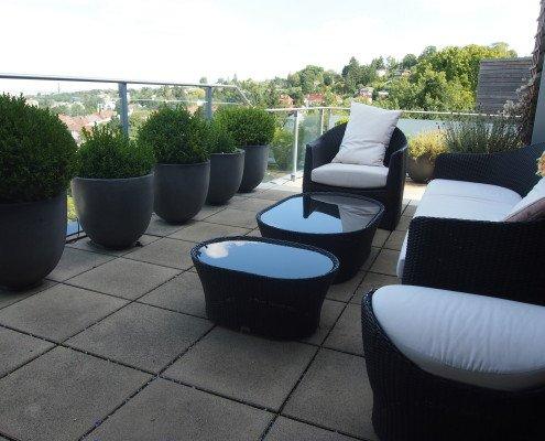 Dachterrassen fix und fertig inkl. Beläge, Bepflanzung und Meublage