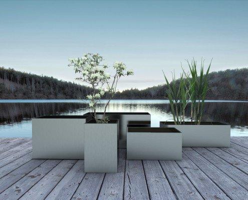 Kombination Holz, Metall und Glasgeländerkonstruktionen