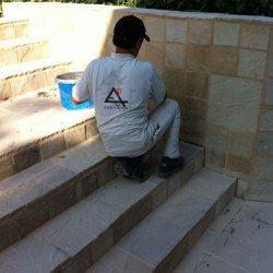 Aussenanlagen, Terrassen, Plätze und Wege mit Sandstein gepflastert